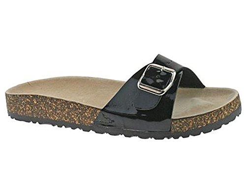 Ladies Womens Sandals Comfort Cork Single Buckle Mules Flip Flops Beach Shoes Black SJa2y7BFi