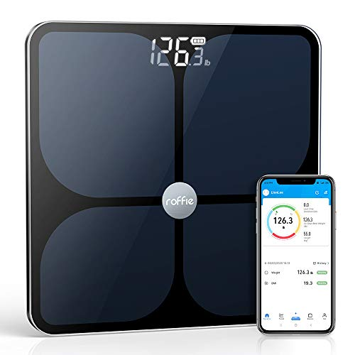 Body Fat Scale, Roffie Digital Weight Scale, Bathroom BMI Smart Wireless Accurate Body Composition Analyzer, High-Precision 400 Lbs Health Monitor with Tempered Glass, Sync with Smartphone APP Black