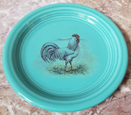Fiestaware Appetizer Plate - w/Chicken White Leghorn Rooster - Turquoise - Homer Laughlin China Co. Fiesta