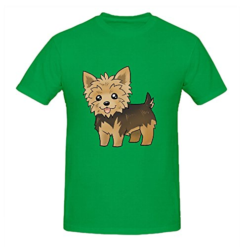 Cute Yorkie Shirts 100 Cotton Men Round Neck Green Graphic