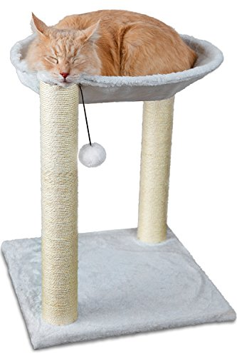 OxGord-Paws-Pals-Cat-Tree-House-16-x-16-x-20-Inches-Multi-2-Level-White-with-Scratching-Post-Tower-Hammock-Bed-And-Pet-Toy-Ball