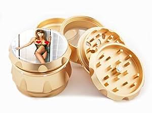 "Asian Girl Design Premium Grade Aluminum Tobacco,Herb Grinder -4Pcs Large (2.5"" Gold) # GLD-G121114-0038"