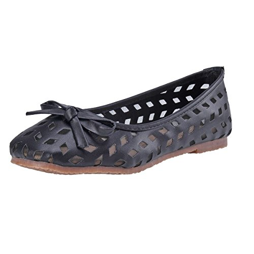 Damara Moda Mujeres Zapatos Planos Con Lazo Bailarinas Zapatillas Boca Baja Negro
