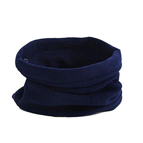 Sheer Ribbed Cap (Kimloog 3 In 1 Men Women Unisex Polar Fleece Warm Hat Soft Neck Scarf Sheer Face Mask Cap (Navy))