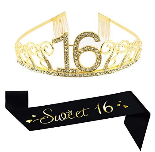 16th Birthday Gold Crown and Sash, Black Glitter