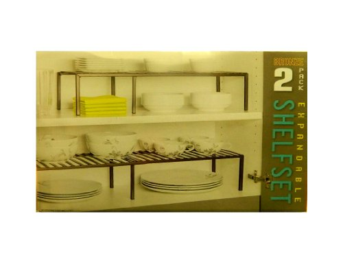 Seville Classics Shelf Set Expandable Bronze 2 Pack