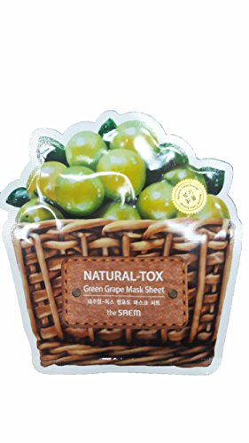 Grapes A Costume Of Halloween Bunch (4 Mask Sheets of The SAEM Natural - tox Green Grape Mask Sheet (Vitalizing & Purifying). (0.7 fl.oz./)