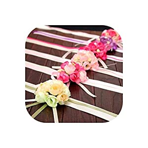20Pcs Wedding Bride Girl Bridesmaid Floral Hand Wrist Corsage Adjustable Ribbon Rose Bracelets Ceremony Party Prom Flower Decor 103