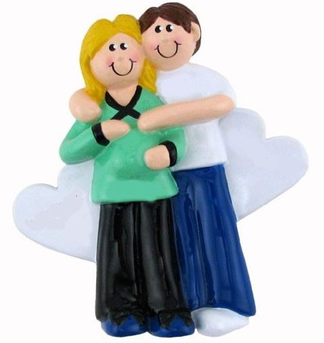 Christmas Gifts Pregnant Women - Pregnancy Christmas Ornament Gifts - Pregnant Lady Woman Couple (Pregnant Couple Blonde)