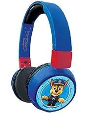 LEXIBOOK HPBT010PA Paw Patrol 2-in-1 Bluetooth Hoofdtelefoon Stereo Draadloze Bedraad, Kinderkluis voor jongens meisjes, opvouwbaar, verstelbaar, rood/blauw