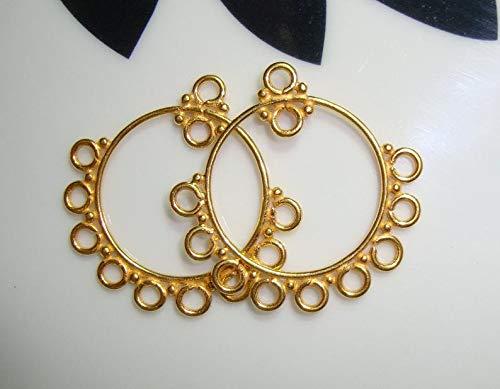 Bali Artisan, 24K Vermeil Sterling Silver 10 Loops Circle Chandelier, Connector, Link, Earring Findings - 2 pcs, 26.5x27x0.9mm - CC-0002