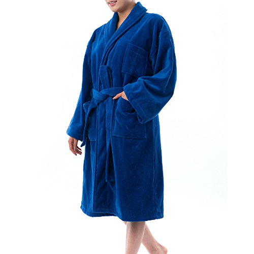 omens Cotton Terry Cloth Bathrobe Shawl Collar Velour Spa Robe BLU SM ()