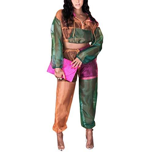 e e e Set con con con con Colore Pantaloni Cappuccio Harem di Blocchi a di Cerniera Coulisse Green 1yX7yFcr