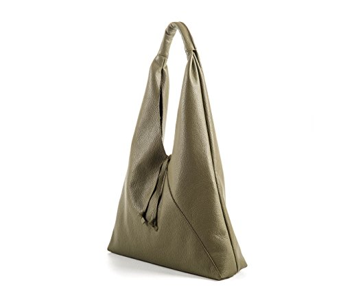 New Francesca - Borsa a sacca in pelle color Verde Bosco - PassioneBags - Made in Italy