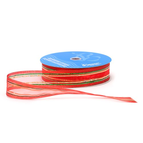 Berwick 1-1/2-Inch Wide by 50-Yard Spool Wired Edge Angel City Craft Ribbon, Red/Green/Gold