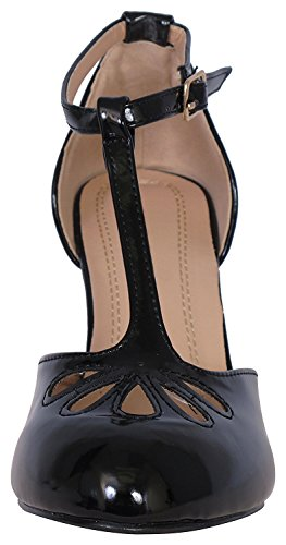 Cambridge Select Donna Teardrop Cut Out T-strap Mary Jane Dress Pump Brevetto Nero