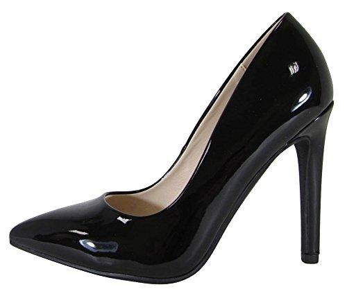 Cambridge Select Women's Classic Closed Pointed Toe Stiletto High Heel Pump (9 B(M) US, Black Patent)