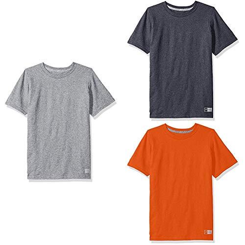 Russell Athletic Athletic Jersey - Russell Athletic Big Boys' Essential Short Sleeve Tee, Oxford/Black Heather/Burnt Orange, XL