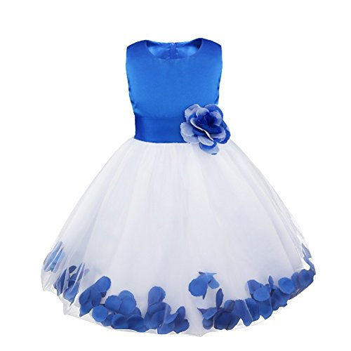 iEFiEL Girls Kids Wedding Party Darling Petals Bowknot Flower Dress Brandeis Blue 6 (Kids Christmas Dress)