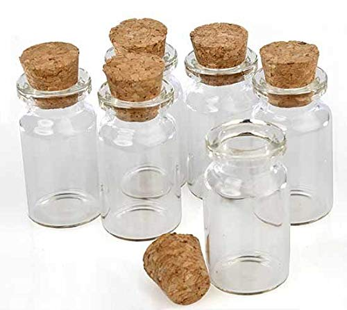 Adorox Package of 10 Small Mini Glass Jars with Cork Stoppers - Size (1.5