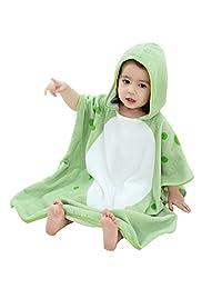 Gogokids Baby Boys Girls Hooded Bathrobe 100% Cotton Bath Towel for Kids Children