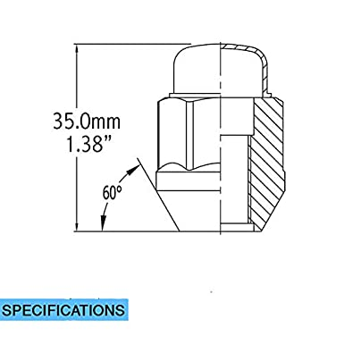 Hex Wheel Lug Nut Cone Seat 21mm Set of 20 Lug Nut Closed End Bulge Acorn Lug Nuts 1.38 Long Chrome 13//16 M14 x 1.5