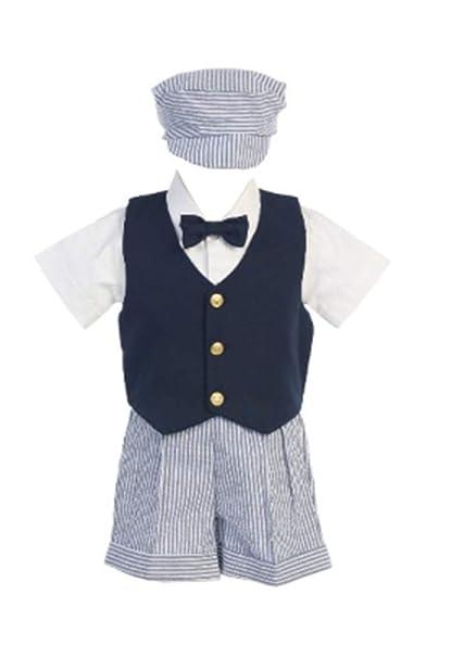 Lito Seersucker Outfit con Chaleco Azul Marino - Pantalones Cortos ...