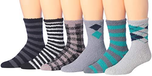 James Fiallo Men's 6-Pairs Low Cut Athletic Sport Socks (Anti-Skid Soft Fuzzy (MZ01))