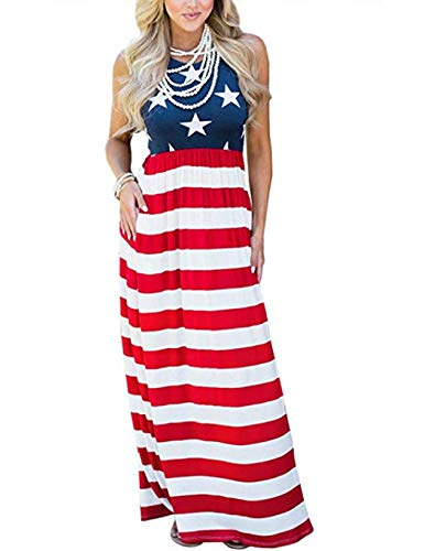 (Locryz Women's American Flag July 4th Sleeveless Tank Maxi Dress with Pocket (S, Blue)