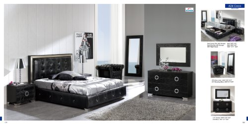 ESF Coco Black Leatherette & Lacquer Crocodile Texture Queen Size Platform Bedroom Set