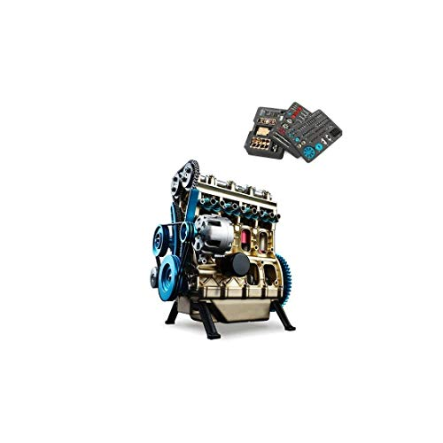 Full Metal Assembled Four-Cylinder Inline Gasoline Engine Model Building Kits for Researching Industry Studying/Toy/Gift (Mini Engine)