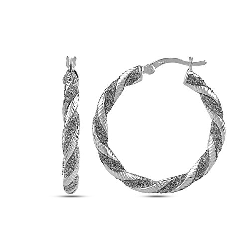 (LeCalla Sterling Silver Jewelry Rhodium Plated Twisted Tube Glitter Hoop Earrings for Women)
