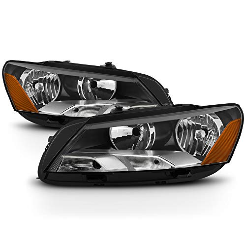 VIPMOTOZ Chrome Housing OE-Style Headlight Headlamp Assembly For 2012-2015 Volkswagen VW Passat Halogen Model, Driver & Passenger Side ()