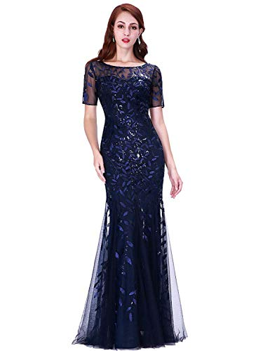 Women's Plus Size Evening Gowns Mermaid Lace Prom Dresses Navy US22 (Mermaids Prom Dresses)