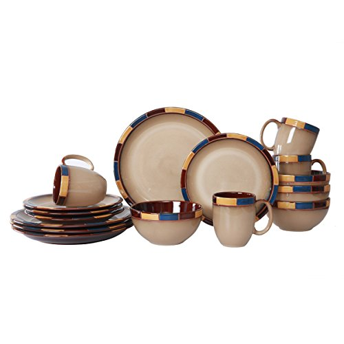 WHITEPEONY Bricks Blue 16-Piece Stoneware Dinnerware Set, Service for 4