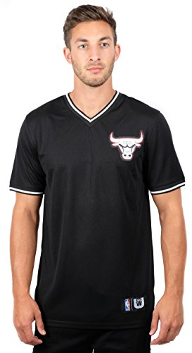 UNK NBA NBA Men's Chicago Bulls Jersey T-Shirt V-Neck Air Mesh Short Sleeve Tee Shirt, Large, Black (Jerseys Mens Bulls Chicago)