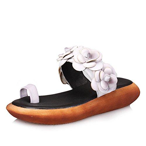 Vistiendo B Zapatillas zapatillas de cuero de cuero de flores vintage zzqIwxFAr