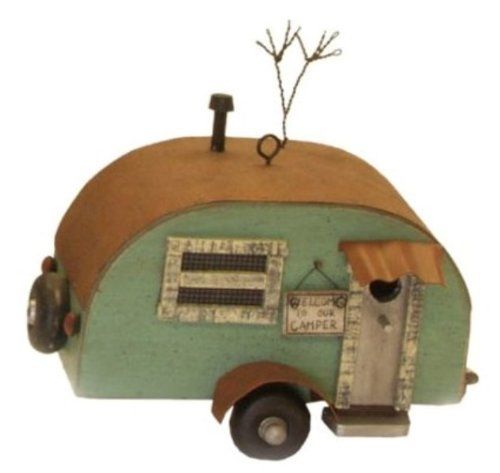 Vintage Look Camper Teardrop Shaped Decorative Birdhouse Miniature 6 Inches by Ohio Wholesale