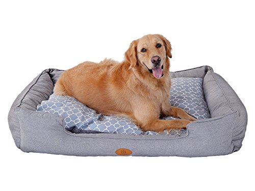 [New] PLS Birdsong Trellis Bolster Extra Large Dog Bed, Pet Bed, Cat Bed, Gray, Extra Large, Removable Cover, Completely Washable, Dog beds for Extra Large Dogs