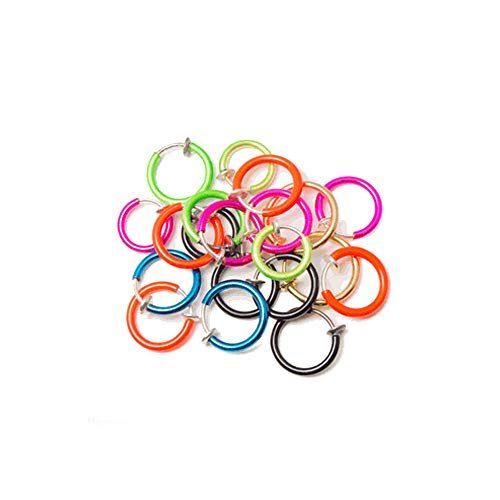 BodyJewelryOnline 20-Pack Non-Piercing Fake Hoops Anodized Finish - Lip, Nose, Cartilage & Ear