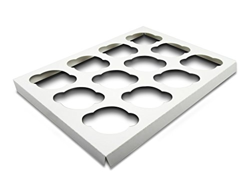 W PACKAGING WP1410CI12C 14x10 White/White Cupcake Insert with 12 Cavities for Holding Regular Cupcakes in Cake Box (Pack of 200)