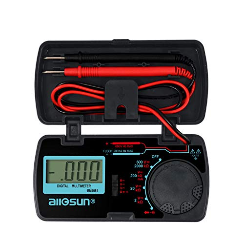 ALLOSUN Digital Multimeter/DMM/Multi Tester Amp/Ohm/Volt Meter/Diode and Continuity Test Pocket Size (EM3081)