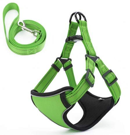 Green Pet Chest Strap with Reflective Traction Rope Dog Chain Dog Leash Teddy golden Hair Small Medium and Large Dog pet (color   Green)