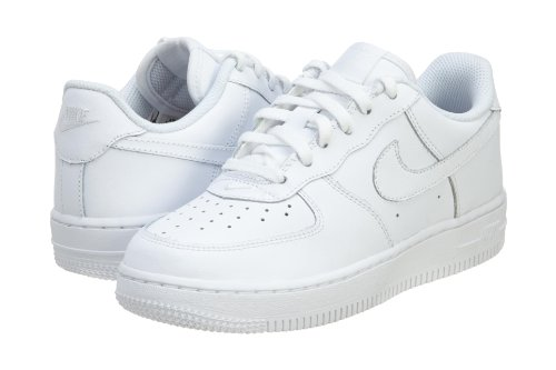 Nike Kids Force 1  White/White/White Basketball Shoe 3 Kids