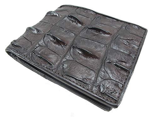 PELGIO Genuine Crocodile Alligator Backbone Skin Bifold Wallet (Chocolate ()
