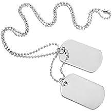 MOWOM White Black Silver Tone 2PCS Alloy Enamel Pendant Necklace Army Name Double Dog Tag