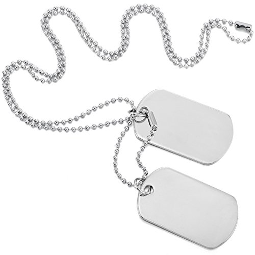 MOWOM Silver Tone 2PCS Alloy Pendant Necklace Army Double Dog Tag]()