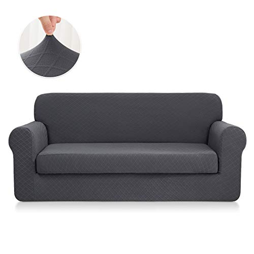 CHUN YI 2-Piece Stretch Polyester and Spandex Rhombus Jacquard Sofa Slipcovers Durable Soft Sofa Cover High Elastic Loveseat Slipcover Easy Fitted 2 Seats Couch Covers (Loveseat, -