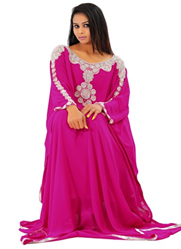 Leena Dubai Very Fancy Kaftan Luxury Crystal Beaded Caftan Abaya Wedding Dress (XXL Pink) by Leena
