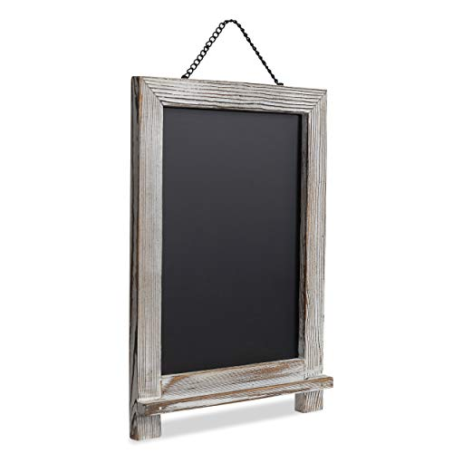 "ExertaChalk Rustic Magnetic Hanging Chalkboard (14"" x 9.5"") Premium White Wooden Framed Decorative Blackboard for Weddings, Bars, Restaurants, Shops, Kitchen Countertops and Farmhouse Style Homes ()"